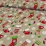 Stoffe Werning Baumwollstoff Weihnachten Socken