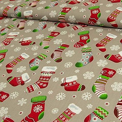 Baumwollstoff Weihnachten Socken Schneeflocken grau - Preis gilt für 0,5