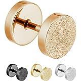treu Eroe® | Orecchini in Effetto Diamante in Argento, Nero, Oro Rosa o Oro a Vite–5Misure–Fake Plug Orecchini sabbiato