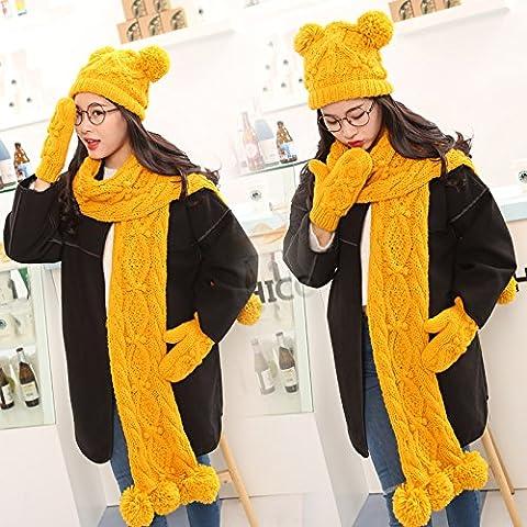 WJP sciarpa Hat guanti tre Kit pezzo coreano Onda a mano moda inverno cute calda lana lavorata a maglia cappelli insiemi W-142