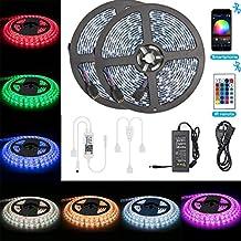 Tiras de LED Bluetooth, ALED LIGHT 5050 RGB 2x5 metros Luces de Tira LED 300 Banda de Luz Impermeable de LED Controlada por Control Remoto 44K o Teléfono Inteligente para El hogar, Exteriores y Decoración