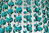 100 Stück 14 mm Pfau grün geschnittene Glaskristalle Ersatzlampe leichte Teile Tropfen Vintage-Stil achteckige Hochzeit Christbaumschmuck Girlanden Prismen, Art Deco Feng Shui Fensterketten