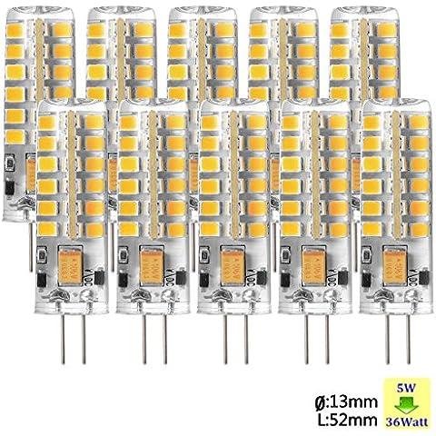 Sunix 10pcs Alta Potencia G4 5W 48 SMD 2835 LED Silicona Lámpara Bombilla de Proyector Blanco Cálido Regulable