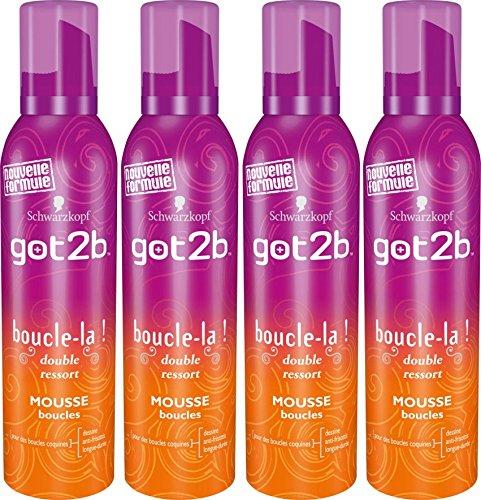 got2b - Mousse Coiffante Cheveux - Boucle La - Aérosol 250 ml -Lot de 4