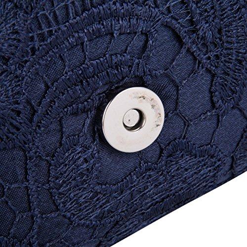 Pochette a Busta da Cerimonia Raso Borsetta da Sera Borsa da Matrimonio Elegante Portafoglio con Catena per Nozze Festa Partito, Nero Blu