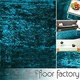floor factory Exklusiver Hochflor Shaggy Teppich Satin türkis/blau 80x150 cm - edler, seidig glänzender Teppich
