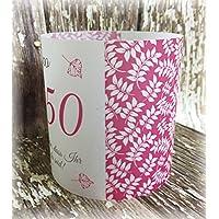 4er Set Tischlicht Tischlichter Blätter runder Geburtstag 40 50 60 70 80 90 Tischdeko personalisierbar pink fuchsia