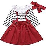 DaMohony Conjunto de ropa de bebé para niña, conjunto de ropa de manga larga a rayas mameluco de tirantes falda diadema 3 pie