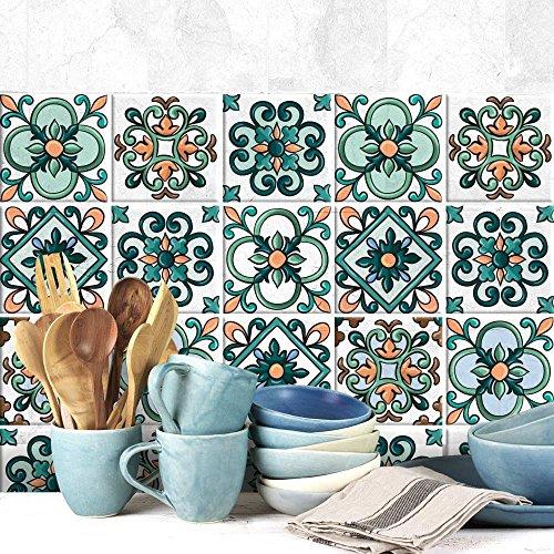 54 Adhesivo para azulejos 10x10 cm - PS00044 - Fantasía vintage - Adhesivo decorativo para azulejos para baño y cocina - Stickers azulejos - Collage de azulejos