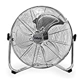 High Velocity Floor Fan Large 20 Inch 50cm 110W Max Power Chrome Fan, Adjustable Heavy Duty 3 Speed Floor Standing Cooling Fan Portable Ideal for the Gym Hydroponic, Durable Tubular Steel Construction, 1.4m Cable Length, Rubber Feet