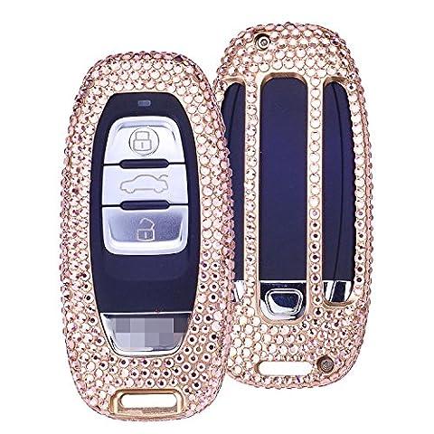 [M. jvisun] fait à la main voiture Entrée Sans Clé Bling Diamant Etui Housse Peau Gousset pour Audi A4L A6L A5A7A8S5S6S7S8RS5RS7Q5échelle internationale, etc., Coque en aluminium aéronautique + Cuir de vachette Clé chaîne, doré