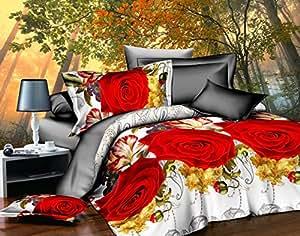 200x220 3D Bettwäsche 4tlg Bettwäscheset Blumen-Motiv Bettbezüge Microfaser Bettwäschegarnituren FSH 392