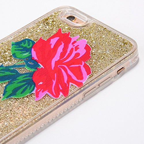 iPhone 6 Hülle, Voguecase Diamond druckt Treibsand Silikon Schutzhülle / Case / Cover / Hülle / TPU + PC Gel Skin für Apple iPhone 6/6S 4.7(Rote Rose 03/Pink) + Gratis Universal Eingabestift Rote Rose 03/Gold