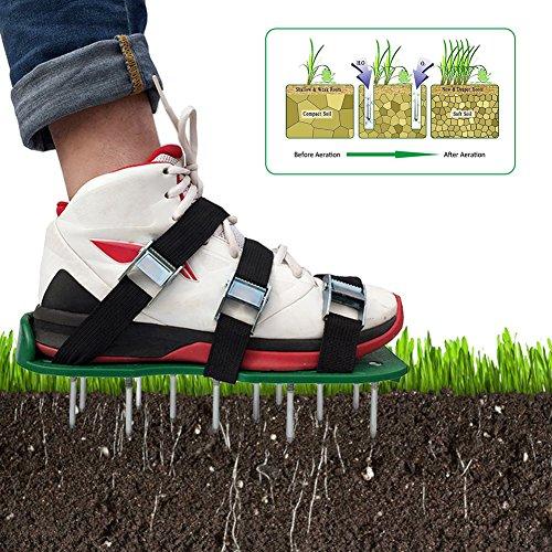 Somedays Rasenbelüfter Vertikutierer Nagel-Schuhe Rasen Universal Rasenlüfter 30*13 cm,ein Paar Rasen Belüfter Schuhe (8 PCS) + eine Reihe von Schrauben (26 PCS) + ein Schraubenschlüssel (Grün)
