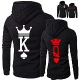 ODOKEI King & Queen Corona Coppie Felpa con Cappuccio Stampa Felpe Pullover Uomo e Donna