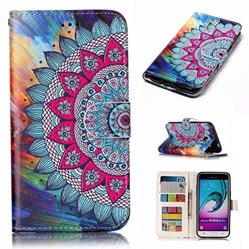 Coque J3 (2016) Anfire Attrape Reve Motif Peint Mode Coque PU Cuir pour Galaxy J3 (2016) Etui Case Protection Portefeuille Rabat Étui Coque Housse pour Samsung Galaxy J3 (2016) (5.0 pouces) Luxe Style Mandala