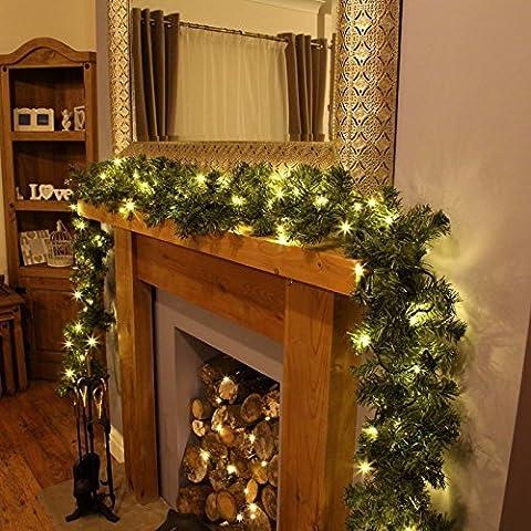 Garden Mile Luxus XL dickes 6.5ft LUXUS vor Licht verziert Weihnachten dekorativ Girlande mit 40 warmes Weiß LED`s und Eicheln rundum 2m (Dicke Christmas Garland)