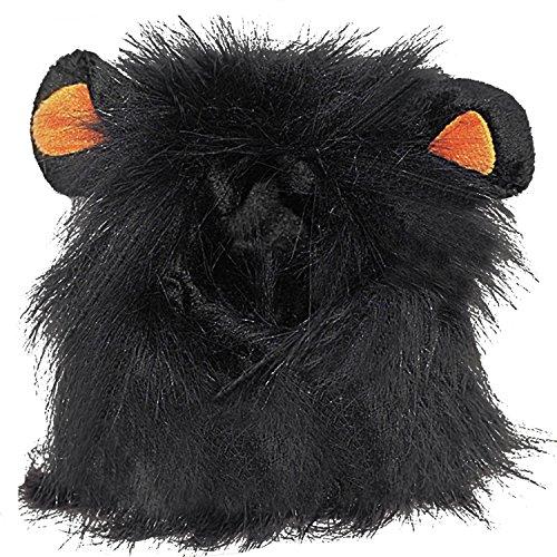 Beetest Haustierkostüm für Hunde/Katzen,Kopfumfang etwa 26-32cm,Modell Löwenmähne mit Ohren,Schwarz