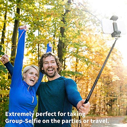 Foneso Bluetooth Selfie Stick mit Stativ für Smartphone, Kamera Schwarz - 6