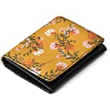 DailyObjects Women's Leather Flowers - Flip Top Card Wallet (Mustard )