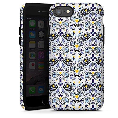 Apple iPhone X Silikon Hülle Case Schutzhülle Skull Totenköpfe Muster Tough Case glänzend