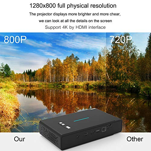 TOUMEI 3800 Lumens Mini Portable 3D 4K Full HD DLP Pocket Projector Smart Android WIFI Video Home Cinema Projector Dual Band WiFi Auto Keystone Correction 1G 16G Dolby sound Chinese English