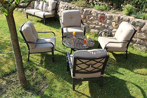Made for us Alu Garten-Möbel, Möbel-Garnitur, wetterfestes Aluguss Lounge-Möbel Set, Sitzgruppe bestehend aus Garten-Sesseln und Couch-Tisch, das Original (4 Sessel + Couchtisch) - Club-sessel Set