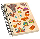 Jikraa Spiral Bound Independence Day Notebook, Single Rule Notebook, Size : A5, Number of Pages : 100, Texture Acrylic Notebook Natural White Paper:High Quality Paper, Multicolor
