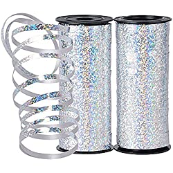 200 yardas Cinta Regalo Plata Plateado Cinta de Globos para Navidad Boda Fiesta Flor Manualidades Embalaje de Regalo Rizada (180m*5 mm)
