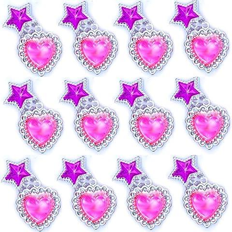 German Trendseller® - 12 x boucles d'oreille à clip┃6 pairs┃avec coeurs et etoiles┃bijoux de filles┃ l'anniversaire d'enfants┃ petit cadeau┃