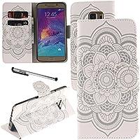 Urvoix Galaxy Nota 5caso, titular de la tarjeta soporte Funda de piel sintética con tapa–blanco flor funda con tapa para Samsung Galaxy Note5N920