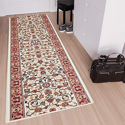Tapiso scarlet tappeto passatoia corridoio classico salotto entrata rosso avorio beige floreale orientale tradizionale a pelo corto 100 x 400 cm