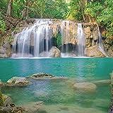Artland Qualitätsbilder I Glasbilder Deko Glas Bilder 30 x 30 cm Landschaften Gewässer Wasserfall Foto Grün A9DM Wald Erawan Waterfall National Park