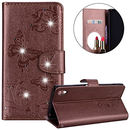 Surakey Coque Compatible avec Sony Xperia L1,Fleur de Papillon Motif Cristal Glitter Strass PU Cuir Case à rabat Coque Portefeuille Housse Flip Wallet Case Magnétique Étui pour Sony Xperia L1,Marron