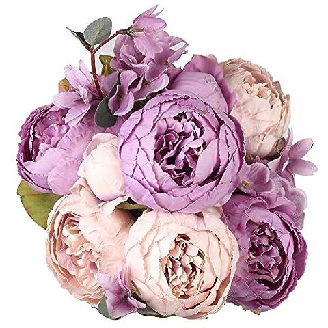 Houda Bouquet de fleurs artificielles en soie Pivoine Décoration de maison/mariage