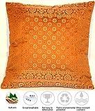 Ruwado Ocker Farbe Seide Kissenbezug | Zierkissenbezug | Sofakissenbezug | Dekokissen | Zierkissen - 40 cm x 40 cm ***Handgewebt und Handgefertigt von Kunsthandwerkern aus Kaschmir-Indien***