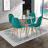 GOLDFAN Tables de Salle à Manger et 4 Chaise Table en Verre et 4 Bleu Vert Chaise en Tissu pour Cuisine Salon Bureau
