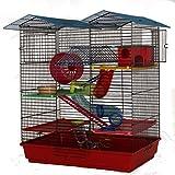 Hamsterburg in Rot Hamsterkäfig Mäusekäfig mit viel Zubehör CH2