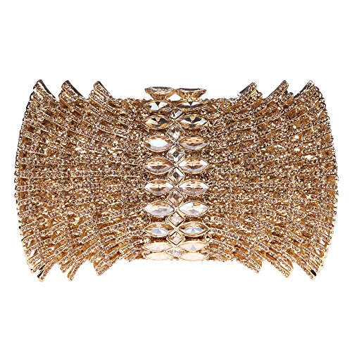 Bonjanvye Mini Barrels Shaped Clutch Bag Bling Purses and Handbags for Girls Gold Smoky yellow