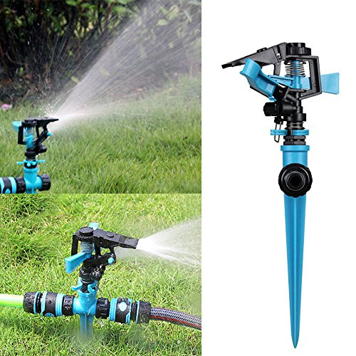 Alftek Justierbare Sprenger 360 Grad automatisch Drehen Doppelten Einlass-Wasser-Sprüher für Hauptrasen-Bewässerungs-Garten-Bewässerung - Rotierende Einlass