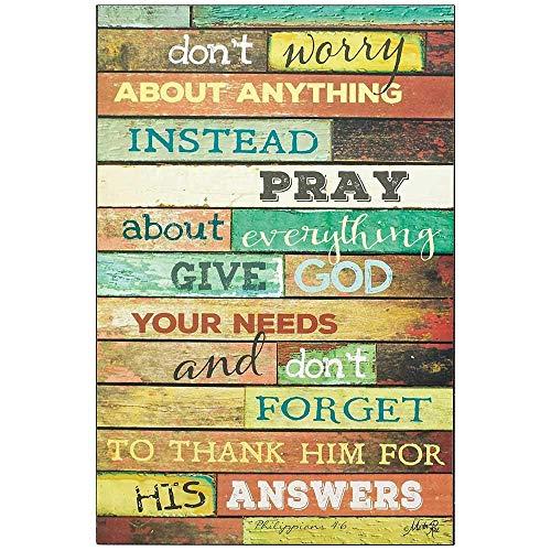 it englischer Aufschrift Don't Worry Instead Pray Philippianer 4:6, christliches Hausdeko, Geschenk, Heimwerkerschild für Frauen und Männer, Einweihungsgeschenk ()