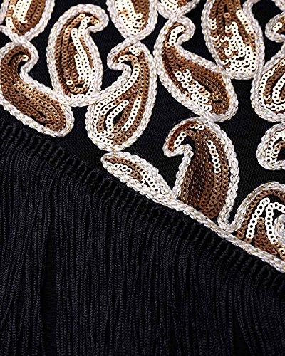 BIUBIU Damen Vintage Flapper Paillettenkleid Cocktail Ballkleid Partykleid Schwarz Gold XXL - 5