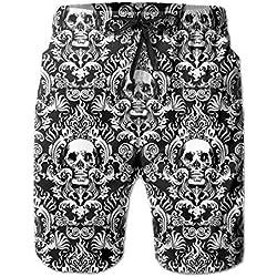 KAKICSA swim trunks summer vintage skull beach shorts pockets boardshorts