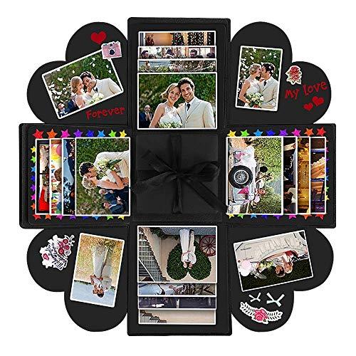 Vegena scatola di esplosione, explosion box scrapbook creative diy photo album regalo perfetto sorprese romantiche idee regalo per anniversario, compleanno, san valentino (nero)