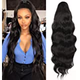 YEESHEDO Long Wavy Ponytail Hair Extension for Black Women Drawstring Ponytail Hair Extensions Clip in Black Curly…
