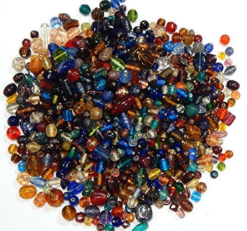 500g Glasperlen Mix Kit Glas Kinder Perlen Zum Fädeln Silberfolie Lampwork Glasschliffperlen Feuerpoliert Rund Kugel Bunt Perlenset Bastelset zur Schmuckherstellung von Halsketten Armband (500)