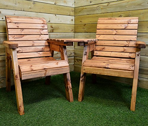 Charles Taylor Trading Hand Made 2 Seater Chunky Rustic Wooden Garden Furniture Love Seat with Tray