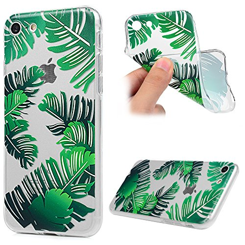 "MAXFE.CO Schutzhülle Tasche Case für iPhone 7 4.7"" TPU Silikon Cover Gemalt Etui Protective Schale Bumper Panda Grüne Blätter"