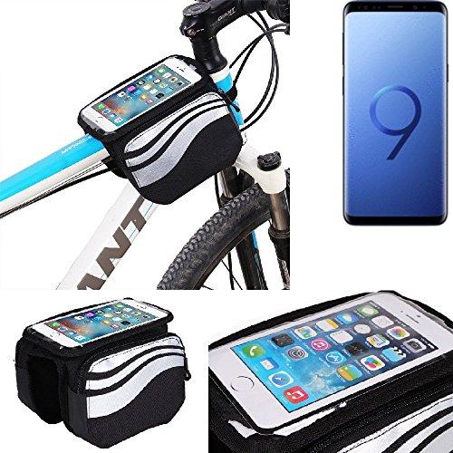 K-S-Trade Rahmentasche für Samsung Galaxy S9+ Duos Rahmenhalterung Fahrradhalterung Fahrrad Handyhalterung Fahrradtasche Handy Smartphone Halterung Bike Mount Wasserabweisend, Silber-schwarz