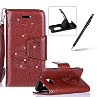 Strap Case for Samsung Galaxy S7,Wallet Leather Case for Samsung Galaxy S7,Herzzer Luxury Elegant Diamond Brown Dandelion Design Magnetic Purse Folio Smart Stand Cover with Card Cash Slot Soft TPU Inner Case for Samsung Galaxy S7 + 1 x Free Black Cellphon